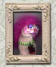 Marty's Sock Puppet Portraits are framed photographs of original sock puppets that artist Marty Allen creates.. sl: woof. this puppet has seen better days