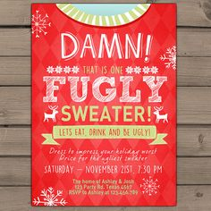 Ugly sweater invitation Printable Christmas ugly sweater party Red Green blue Winter Fugly Sweater Annual Christmas party Digital