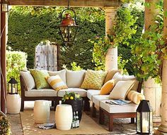 patio decor - pillows lanterns