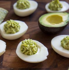 Guacamole Deviled Eggs - perfect for Dr. Seuss's birthday, March 2nd! (green eggs & ham!)