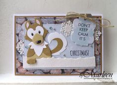 Handmade card by DT member Marleen with Collectable Eline's Husky (COL1414), Craftable Label XL & Labels XS (CR1353) and Bagtopper Mug (CR1376) from Marianne Design