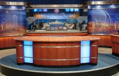 Explore photos of WSOC-TV's TV set design in this interactive gallery of the studio. Design Set, Stage Set Design, Church Stage Design, Fall Background Wallpaper, Green Background Video, New Wallpaper, Free Green Screen, Front Gate Design, Virtual Studio