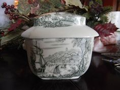 Royal Crownford Black Transferware Tea Caddy -Safe Harbour Pattern