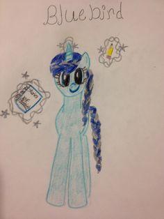 By Pony fun. She drew bluebird a pc I made!
