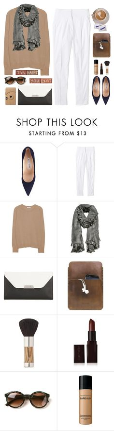 """Untitled #228"" by ino-6283 ❤ liked on Polyvore featuring Manolo Blahnik, Rebecca Taylor, Equipment, ONLY, Mark Cross, Palila, Sonia Kashuk, Poketo, Laura Mercier and Thierry Lasry"