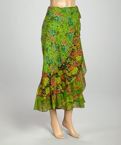 Look what I found on #zulily! Green Floral Wrap Skirt #zulilyfinds