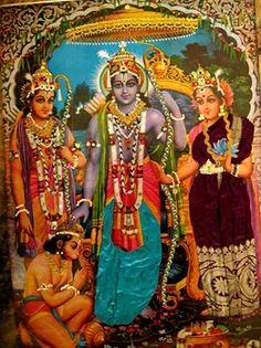 Rama with wife Sita and Hanuman