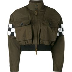 Dsquared2 checkboard cropped bomber jacket ($1,195) ❤ liked on Polyvore featuring outerwear, jackets, tops, green, green jacket, brown jacket, cotton jacket, green flight jacket and military bomber jacket