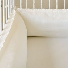 Pom Pom at Home Crib Bedding Charlie Organic Linen Crib Bumper White
