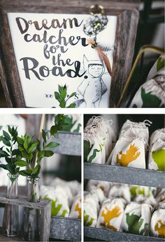 Where the Wild Things Are inspired party favors! Dream Catchers in hand stamped linen bags. Baby Shower Fun, from Langley's Wild One via Andrea Patricia Photography #partyfavorideas