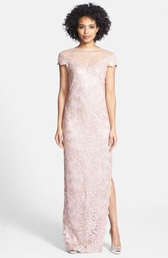 Tadashi Shoji Cap Sleeve Sequin Lace Embroidered Gown available at #Nordstrom