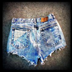 Vintage High Waisted Studded Acid Wash Gitano Cut Off Shorts 30 Waist. $40.00, via Etsy. want need love