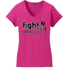 Fight Like a Girl Signature Breast Cancer T-Shirt Ladies V-Neck Hot... ($22) ❤ liked on Polyvore featuring tops, t-shirts, hot pink v neck t shirt, v neck tee, hot pink t shirt, pink v neck t shirt and v neck t shirts