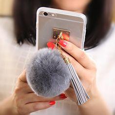 Luxury Fashion Soft Plush Gray Rabbit fur pompom Fluffy ball Tassel Mirror Phone case for iphone 5 6 6s plus coverring back case