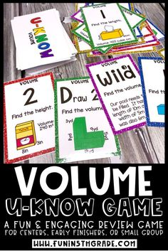 A fun and engaging review game for finding volume.  This hands on review game reviews how to find volume of rectangle prisms and use geometric formulas.  Great activity to use for math test prep in 5th grade.  This cards game is perfect for practicing finding volume and can be used in centers, independent practice or a small group.  #findingvolume #5thgrademath