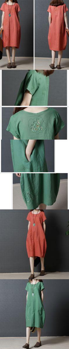 2017 Summer Loose Cotton Linen Dress Big size Women O Neck Short Sleeve Dresses Solid Color Fashion Clothing Plus Size Vestidos