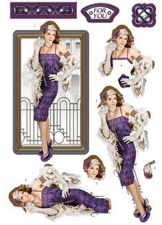 Debbi Moore Designs - Die Cut Art Deco London decoupage toppers - amethyst dress
