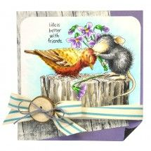 stampendous stamp House-Mouse® Birdie Kiss by Janelle Stollfus