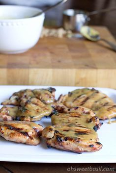 sweet and saucy chicken thighs. combine brown sugar, dijon mustard, maple syrup, and rice vinegar. coat chicken and grill