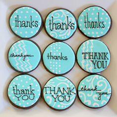 Galletas - Cookies - thank you cookies Thank You Cookies, Fancy Cookies, Cute Cookies, Cupcake Cookies, Thank You Cupcakes, Thank You Cake, Bolacha Cookies, Galletas Cookies, Iced Sugar Cookies