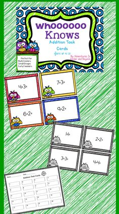 Whoooooo knows their math facts?  These task cards and the perfect way for your students to work on building their addition skills. In this set you get 32 task cards( in both color and b/w) that will keep your students engaged during math center time. These task cards are perfect for small groups, centers, early finishers or use them as an assessment tool. There are 3 different response sheets included.