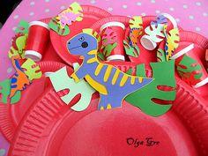 """Поделки из бумаги своими руками - Посуда на день рождения """"Динозавры"""" (шаблоны)"""