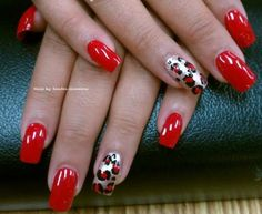 Sexy Red With Leopard Accent...would prefer this on shorter nail :)