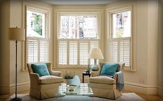 plantation shutters for my bay window. Except I want mine in wood color.