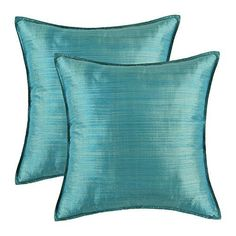 I love the look of blue home decor as it can be done very nicely as seen in the photo above.   I love all shades of blue from light pale baby blue to a deep dark navy blue that is almost black/blue.    SET OF 2 Euphoria Cushion Covers Pillows Shells Light Weight Dyed Stripes Teal Color 18