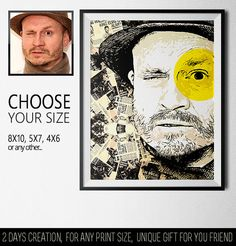 A personalized photo gift for him, personalized poster with yellow accents and a news background, in vector style. The best gift for your friend,