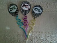 Cute black and white birthday balloons