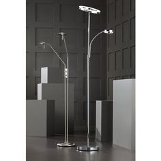 possini euro dillon chrome led torchiere with reading arm