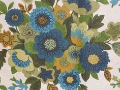 Vintage Mid Century Blue Tan MOD Floral Upholstery Fabric w/ Scotchguard