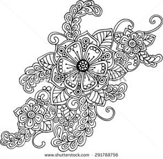 orient floral black and white ornament with abstract