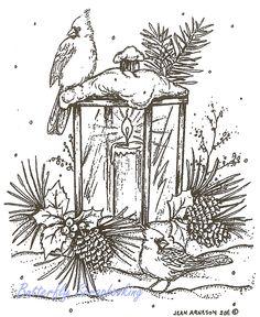 Christmas Lantern Cardinal Birds Wood Mounted Rubber Stamp NORTHWOODS M8288 New