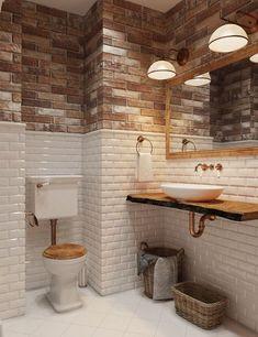 El diseño del cuarto de baño: la mezcla lofta y fyuzhena