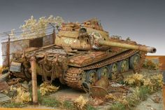 """Rust-nestling"" 1/35 scale. By Imre Kovács. TAMIYA T-55A. #scale_model #tank #diorama http://www.tamiya.com/english/news/event/pachi67/index.htm"