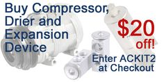 Buy an AC Compressor, Drier and Expansion Device and get 15 dollars off  www.buyautoparts.com