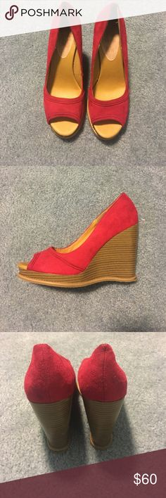 Red wedges Great condition, worn only once! Shoes Wedges