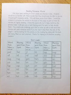 Practicing Nonsense Words at Home