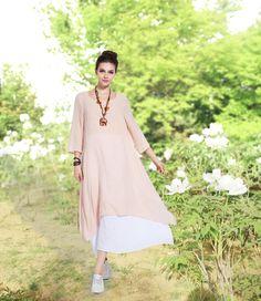 Anysize retro fake two piece soft linen & cotton dress by AnySize