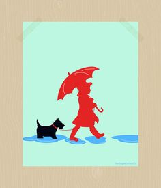 A Girl and Her Dog Scottie Dog Print Printable Two Puddle Jumpers Scottish Terrier 8 x 10 Daughter Best Friend Dog Print Nursery Print
