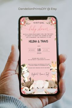 This cute virtual baby shower invite for a sweet baby girl features masked woodland animals. You get both the smartphone and the card template to edit as you please. #virtualshower #babyshower #babyshowerinvite #babygirl Baby Shower Invites For Girl, Baby Shower Invitations, Mail Gifts, Sprinkle Invitations, Virtual Baby Shower, Woodland Animals, Diy Baby, Baby Showers, Ava