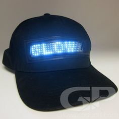 The LED Baseball Cap with Lights is a light up LED hat with a scrolling message. The glowing light up baseball cap with lights is rechargeable and has white LED lights.
