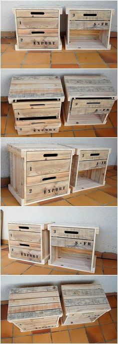 Get new woodworking project ideas from us. We feature both small and large projects. Reclaimed Wood Furniture, Diy Pallet Furniture, Recycled Furniture, Furniture Storage, Pallet Ideas For Bedroom, Furniture Plans, Pallet Side Table, Side Tables, Pallet Patio