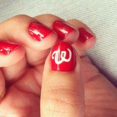 Nail design of Washington Nationals baseball logo