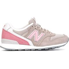 New Balance Panelled Logo Sneakers (145 CAD) ❤ liked on Polyvore featuring shoes, sneakers, grey, gray sneakers, new balance, grey shoes, new balance shoes and suede shoes