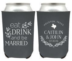 Eat Drink Be Married 1B Wedding Can Coolers Personalized Wedding Favors Hard Foam Beer Holder Wedding Party Gifts
