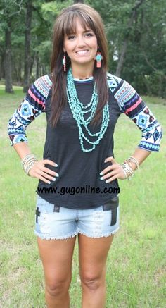 Wondering Eye Black Burnout Baseball Tee in Turquoise Aztec $19.95 www.gugonline.com