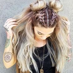The Best Braided Space Buns You Need To Try Yourself – - Bun Hairstyles Box Braids Hairstyles, Cute Girls Hairstyles, Pretty Hairstyles, Hairstyle Ideas, Two Buns Hairstyle, Decent Hairstyle, Hair Ideas, Style Hairstyle, Rocker Hairstyles